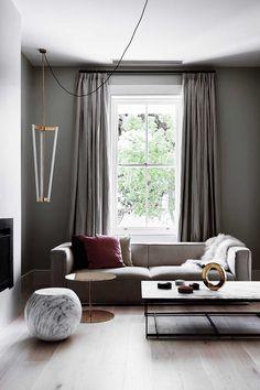 Moderne et elegant | East Melbourne Home by Flack Studio. Grey monochrome  living room.