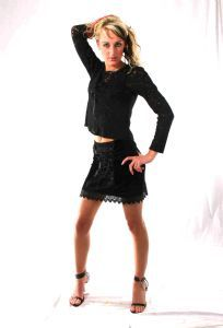 Gothic Lace Top~Front Laced Long Sleeved~Also available Black Mini Skirt~Bares/Fashion X~92D-1282~