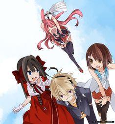 Mondaiji-tachi ga isekai kara kuru sou desu yo - Asuka, Izayoi, Kuro Usagi and You art by 00myuto (Deviantart)