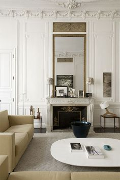 love the traditional moldings and over height ceiling