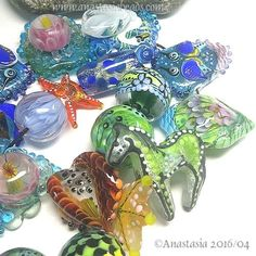 """ANASTASIA--handmade lampwork beads--(20)--""""SPRING CLEANING I""""--SRA in Jewelry & Watches, Loose Beads, Lampwork 