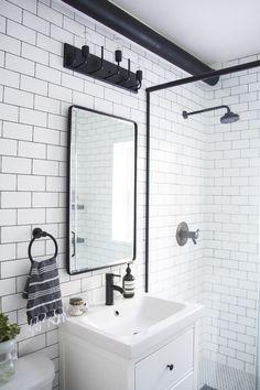 modern bathroom, black and white bathroom makeover, a bathroom with a modern mix