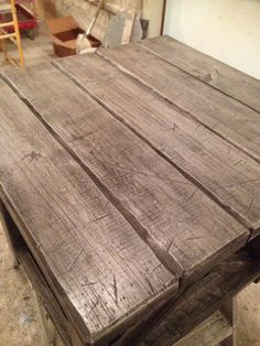 Grey distressed side table