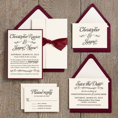 Wedding Invitation Ideas | Paper Source with fig and cream instead of red and white