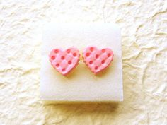 Cute Food Earrings Pink Heart Biscuits Earrings by SouZouCreations, $10.00