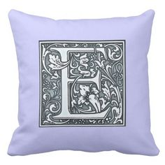 flourish silver monogram - E Throw Pillows