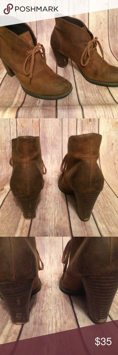 Brown ankle booties Brown ankle booties with chunky heel. Sole of heel missing one bottom shown in photos. But good condition! Heels 3 inches Shoes Ankle Boots & Booties