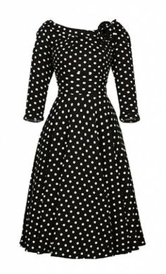 Becky - women's vintage 1950s style polka dot dress with doll collar and 3/4 sleeves. #modestcloting