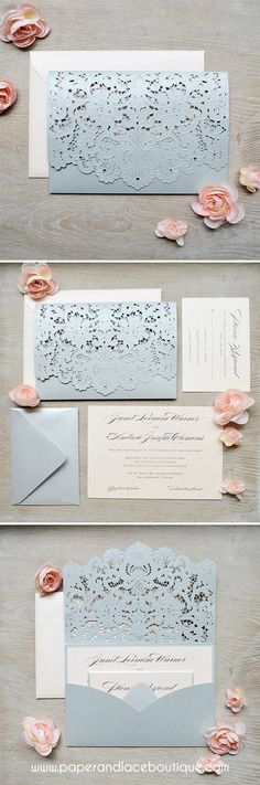 Bride to Be Reading ~ Silver and Blush Laser Cut Wedding Invitations. Hints of blue to tie in to theme?