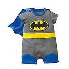 Baby Batman Costume Grow Outfit Sizes 3 - 24 Months (Grey)