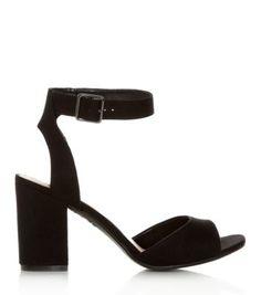 Black Block Heel Ankle Strap Sandals