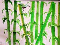 Bamboos and dragonfly