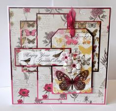 """8 x 8 card I made using """"Botanica"""" - glossy accents on the large butterfly and birds on the sentiment Craftwork Cards, Vintage Scrapbook, Color Card, Card Tags, Craft Work, Flower Cards, Homemade Cards, Paper Crafts, Card Crafts"""