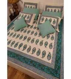 Heritage Fabs Kalmkari Aqua Double Bed Cover Set With 2 Pillow Covers