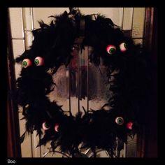 My eyeball feather wreath.