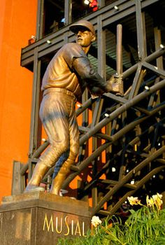 """""""...Here stands baseball's perfect warrior. Here stands baseball's perfect knight."""" - Ford Frick, former Commissioner of Baseball. Statue of Stan """"The Man"""" Musial outside Busch Stadium."""