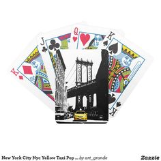 New York City Nyc Yellow Taxi Pop Art Bicycle Playing Cards