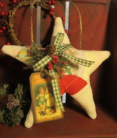 Primitive Christmas Star Handmade from Antique Fan Quilt ~ Holiday Door Greeter