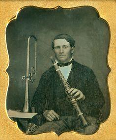 calledback-blog:  1/6th Plate DaguerreotypeSeated Man with Clarinet & Brass Horn