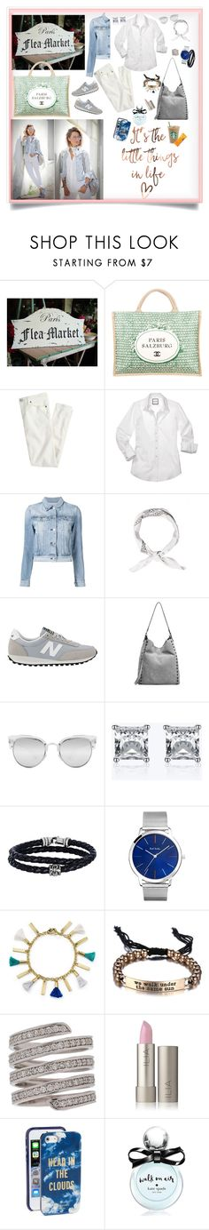 """Flea market hunting on a gorgeous day ( I wish...Paris)"" by deborah-518 ❤ liked on Polyvore featuring Chanel, J.Crew, 3x1, New Balance, Loeffler Randall, Quay, Phillip Gavriel, Paul Smith, Aqua and Lynn Ban"