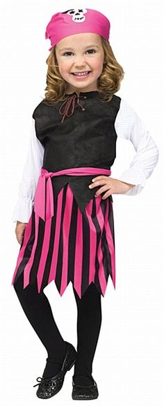 Toddler Pink Pirate Costume Don't let her cute looks fool you she might have the look of an angel, but she's a cutthroat pirate at heart. Don't leave your treasure out in the open or this little pirate scallywag will pilfer it right from under your nose.