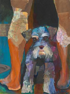 Schnauzer - Print of Collage and Acrylic Painting. $150.00, via Etsy.