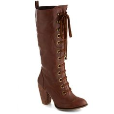 Urban, Steampunk, Scholastic Prospectress Boot ($21) ❤ liked on Polyvore featuring shoes, boots, steampunk, heels, modcloth, heeled boot, boot - bootie, tan, zipper boots and tan boots