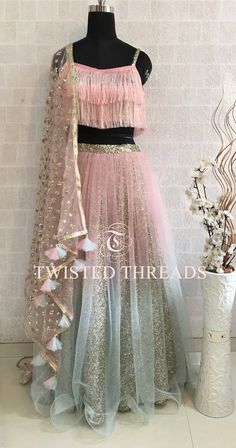 Pink Ombre Lehenga with tassels on dupatta. By Twisted Threads. Click on image to see price. #Frugal2Fab