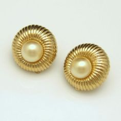 ELEGANT JOMAZ EARRINGS! These fluted gold plated earrings with faux pearl centers are so classy. $44.95. See more great vintage earrings in my eBay store: http://stores.ebay.com/My-Classic-Jewelry-Shop/Earrings-/_i.html?_fsub=1589283016&_sid=102404336&_trksid=p4634.c0.m322