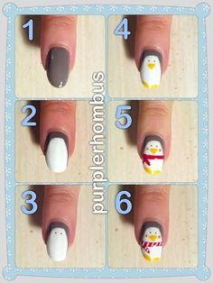 Twitter / dutch_nail_art: step by step cute penguin nails! ...