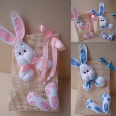 Sweets or gift bag Bunny Crafts, Easter Crafts, Felt Crafts, Holiday Crafts, Crafts To Sell, Diy And Crafts, Crafts For Kids, Easter Toys, Easter Bunny
