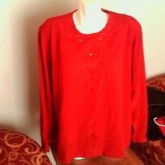I just discovered this while shopping on Poshmark: Womans Plus Red Blouse 22W Long Sleeve Polyester. Check it out! Price: $14 Size: 22W