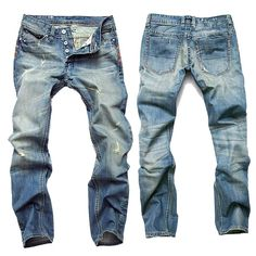 Men Jeans Fashion Designer Denim Blue Pants for Male AD Men's Trousersbutton Fly Jeans Men jeans formal jeans ripped jeans skinny jeans Levis jeans straight Denim Jeans Men, Jeans Pants, Jeans Fit, Trousers Mens, Biker Jeans, Ripped Jeans, Men's Fashion, Fashion Guide, Cheap Fashion