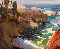California Coast by John Burton Oil ~ 10 x 12