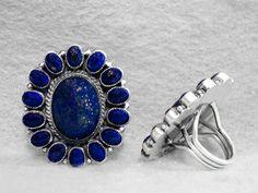 Kirk Smith Ring Size 9 Lapis Lazuli Afghan Sterling Silver Navajo Rip 9