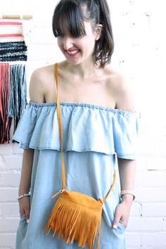 Small Boho Fringed Bag, Golden Yellow Suede from Baba Souk