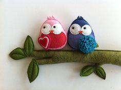 felt bird couple passarinhos de feltro