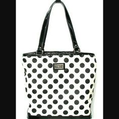 Lulu Guinness Polka Dot Handbag Oh so cute Lulu Guinness Vintage purse. It has 3 large compartments with the middle one closing with a zipper as shown. Measures 11in tall 13in wide. Lulu Guinness Bags