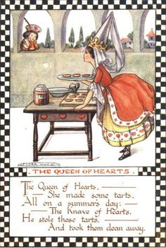 Divided Back Postcard The Queen Of Hearts Nursery Rhymes Nursery Rhymes Poems, Rhymes For Kids, Vintage Nursery, Vintage Children's Books, Children's Book Illustration, Book Illustrations, Queen Of Hearts, Alice In Wonderland, Fairy Tales