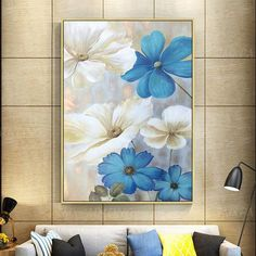 Valentines Gold Blue Flower Acrylic Painting On Canvas Original Extra Large Floral Wall Pictures Art Small Canvas Paintings, Acrylic Painting Flowers, Acrylic Painting Canvas, Stone Painting, Painting Frames, Painting Prints, Canvas Art, Art Mur, Sunflower Art