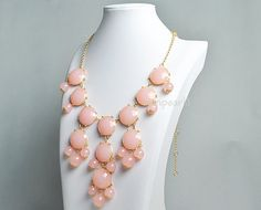 Pink Bubble Necklace, Light Pink Necklace, Statement Necklace (FN0508-Pink). $18.00, via Etsy.