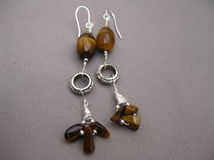 Tiger Eye Sterling Silver Wire Wrapped Earrings by Banba on Etsy, $15.00