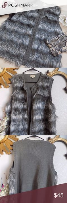 Gorgeous One World Faux Fur Vest New with tag. Faux Fur 100% Acrylic Contrast: 55% Acrylic 45% Polyester L 27, Pit to pit 24  Open vest. No pockets. Sweater knit back. ONE WORLD Jackets & Coats Vests