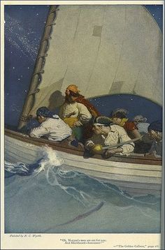"""""""Oh, Morgan's men are out for you."""" Illustration by N. Wyeth for """"The Golden Galleon"""" by Paul Hervey Fox. Jamie Wyeth, Andrew Wyeth, Frederic Remington, Nc Wyeth, Long John Silver, Howard Pyle, Pirate Art, Wow Art, Traditional Paintings"""