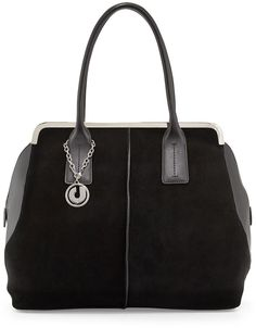 Charles Jourdan Baxter Leather/Suede Tote Bag, Black  Was: 290.00$ Now: 203.00$