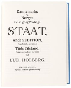 """""""Dannemarks og Norges geistlige og verdslige staat"""" Ludvig Holberg"""