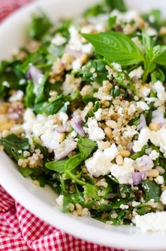 Spinach & Quinoa Salad with Feta and Pine Nuts