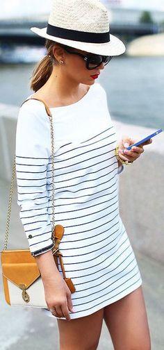 Bershka White Thin Black Stripe Nautical Little Dress