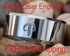 Tungsten Carbide Band 10mm Beveled Mandalorian Design Ring-Free Inside Engraving
