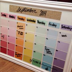 DIY calendar with paint chips